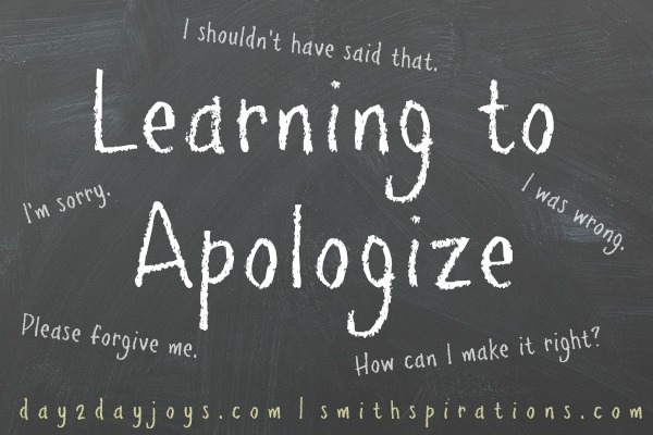 Learn to apologize sincerely to help bring true reconciliation in your relationships; post from Day2DayJoys.com