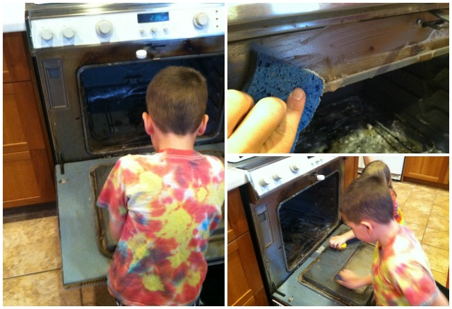 Kids helping to clean the oven