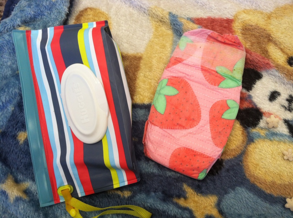 honest diapers with wipes in reusable pouch