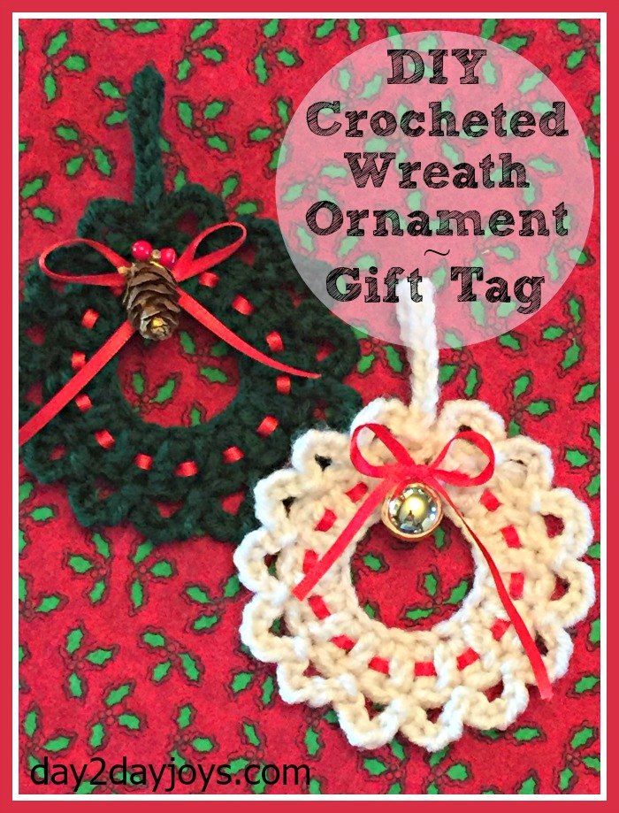 DIY Chrocheted Wreath Ornament Gift Tag