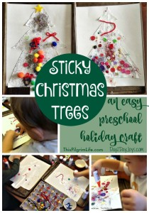 Sticky Christmas Trees :: An Easy Preschool Holiday Craft